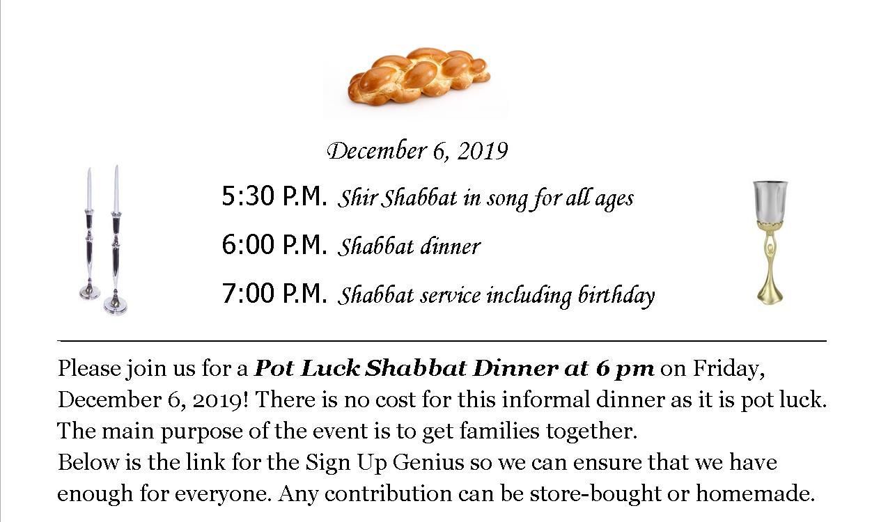 Shabbat Potluck Dinner & Service – Dec. 6