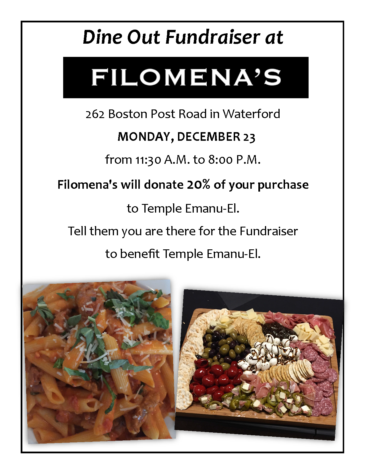 Dine to Donate at Filomenas – Dec. 23